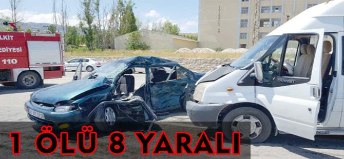 KELKİT'TE TRAFİK KAZASI 1 ÖLÜ 8 YARALI,