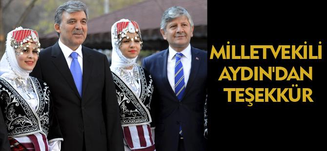 MİLLETVEKİLİ AYDIN'DAN TEŞEKKÜR