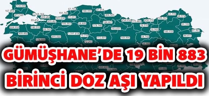 GÜMÜŞHANE'DE 19 BİN 883 BİRİNCİ DOZ AŞI YAPILDI