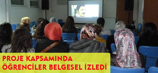 """""""ATASIZ ATİ OLMAZ"""" PROJESİ İLE ÖĞRENCİLER BELGESEL İZLEDİ"""