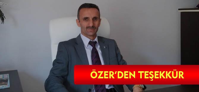 ÖZER'DEN TEŞEKKÜR