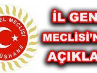 İL GENEL MECLİSİ'NDEN AÇIKLAMA